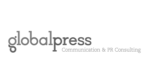 Logo global press, black & white