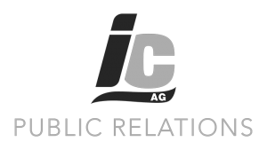 Logo IC AG - Public Relations, black & white