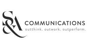 Logo S&A Communications, black & white