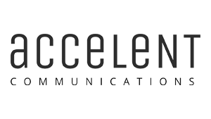 Logo accelent communications, black & white